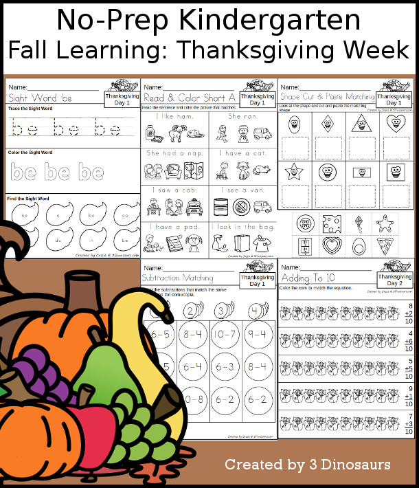 No-Prep Thanksgiving Themed Weekly Packs for Kindergarten with 5 days of activities to do to learn with a Thanksgiving theme - 3Dinosaurs.com