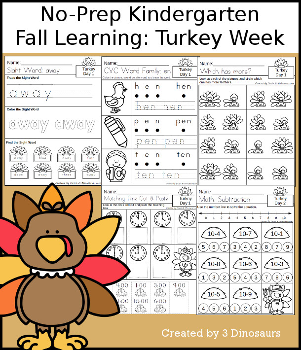 No-Prep TurkeyThemed Weekly Packs for Kindergarten with 5 days of activities to do to learn with a fall Turkey theme for Thanksgiving - 3Dinosaurs.com