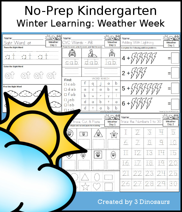 No-Prep Weather Themed Weekly Packs for Kindergarten with 5 days of activities to do to learn with a Weather theme - 3Dinosaurs.com