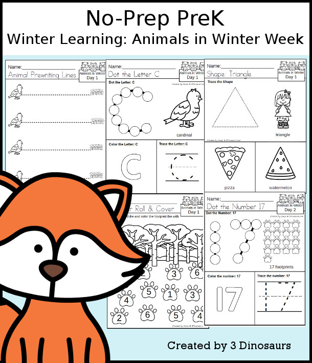 No-Prep Animals In Winter Themed Weekly Packs for PreK  with 5 days of activities to do to learn with an Animals In Winter theme- 3Dinosaurs.com