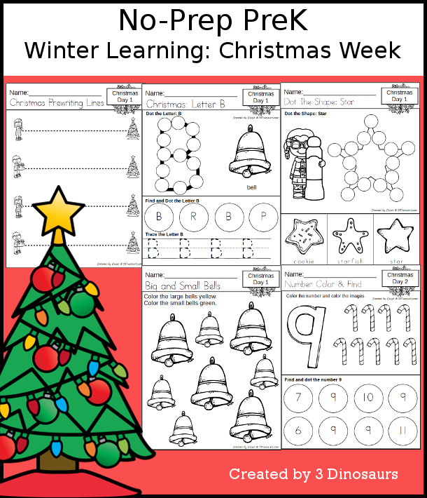 No-Prep -Christmas Themed Weekly Packs for PreK  with 5 days of activities to do to learn with a Winter Christmas theme - 3Dinosaurs.com