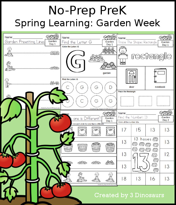 No-Prep Garden Themed Weekly Packs for PreK  with 5 days of activities to do to learn with a spring Garden theme - 3Dinosaurs.com