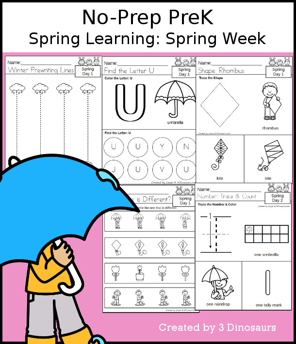 No-Prep Spring Themed Weekly Packs for PreK  with 5 days of activities to do to learn with a Spring theme - 3Dinosaurs.com
