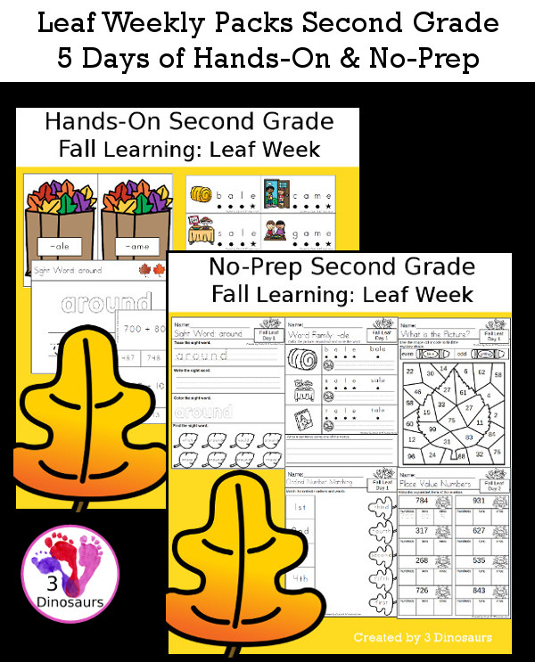 No-Prep & Hands-On Leaf Themed Weekly Packs for Second Grade with 5 days of activities to do to learn with a fall leaf theme - 3Dinosaurs.com