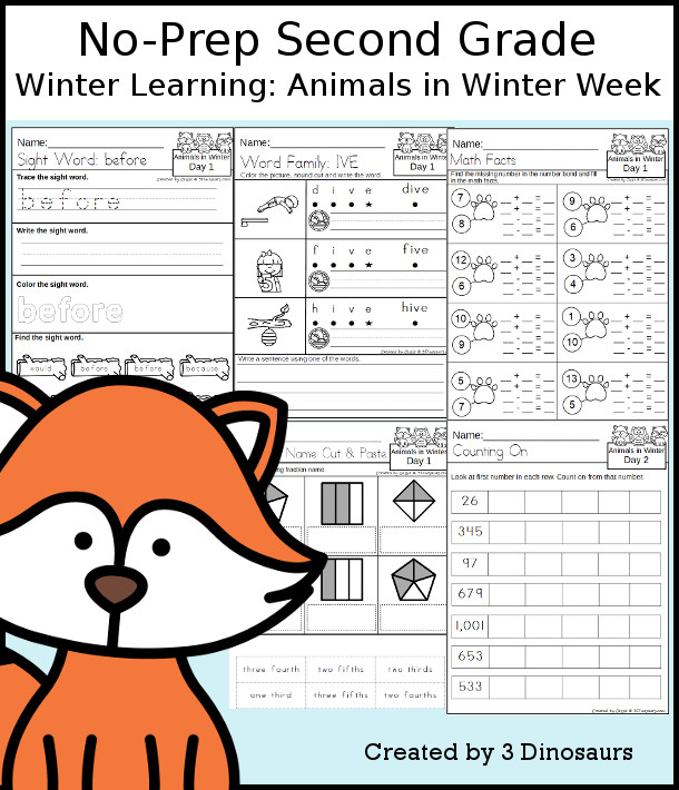 No-Prep Animals In Winter Themed Weekly Pack for Second Grade with 5 days of activities to do to learn with a Animals In Wintertheme - 3Dinosaurs.com