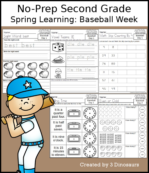 No-Prep Baseball Themed Weekly Pack for Second Grade with 5 days of activities to do to learn with a spring Baseball theme - 3Dinosaurs.com