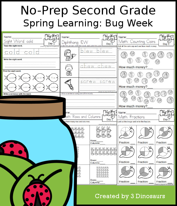 No-Prep Bug Themed Weekly Pack for Second Grade with 5 days of activities to do to learn with a spring Bug theme - 3Dinosaurs.com