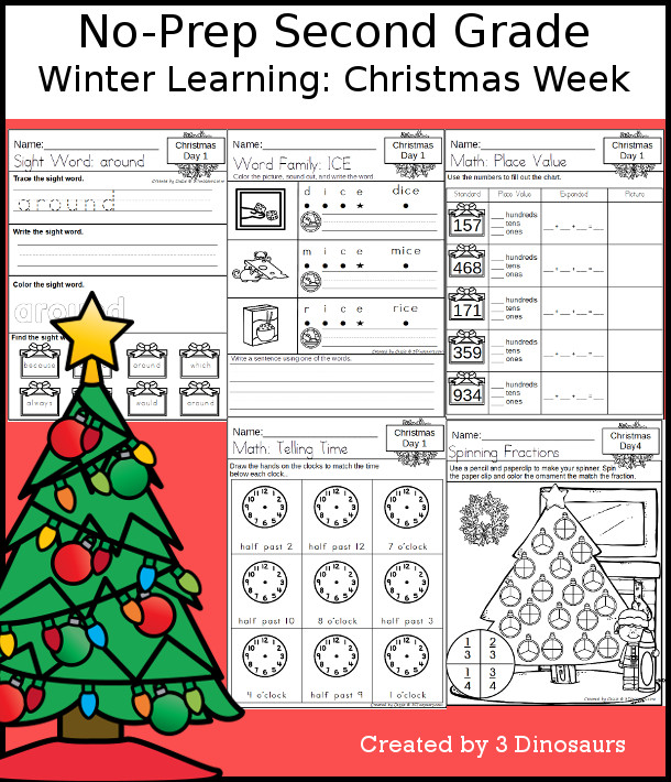 No-Prep Christmas Themed Weekly Pack for Second Grade with 5 days of activities to do to learn with a winter Christmas theme - 3Dinosaurs.com