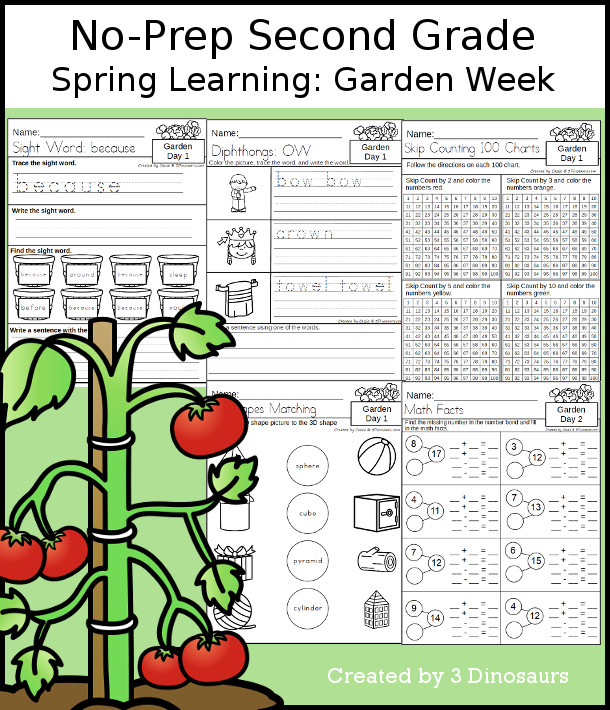 No-Prep Garden Themed Weekly Pack for Second Grade with 5 days of activities to do to learn with a spring Garden theme - 3Dinosaurs.com