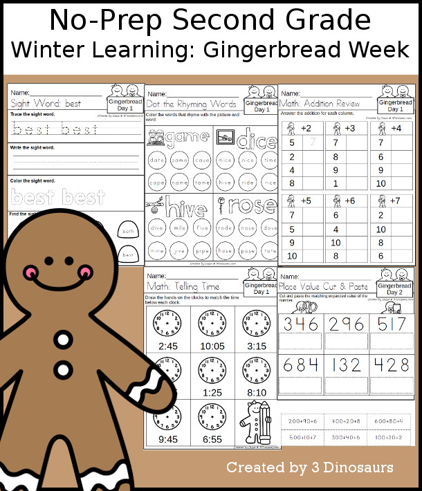 No-Prep Gingerbread Themed Weekly Pack for Second Grade with 5 days of activities to do to learn with a winter gingerbread theme - 3Dinosaurs.com