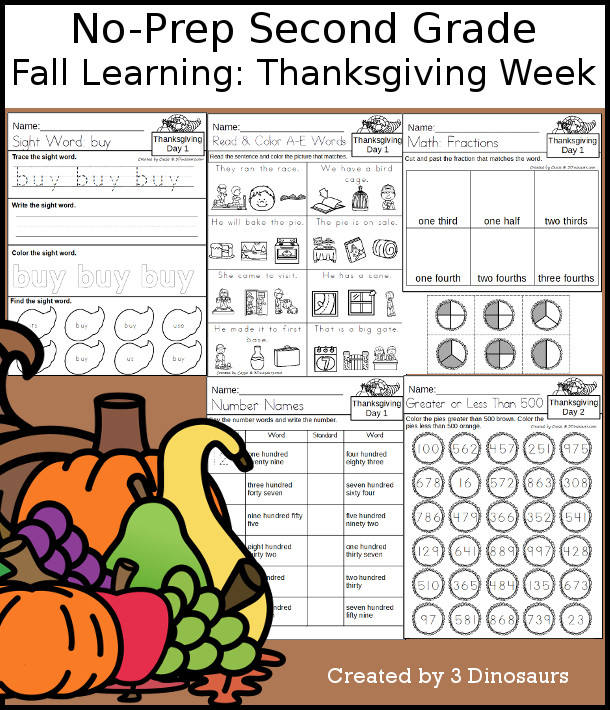 No-Prep Thanksgiving Themed Weekly Pack for Second Grade with 5 days of activities to do to learn with a Thanksgiving theme - 3Dinosaurs.com