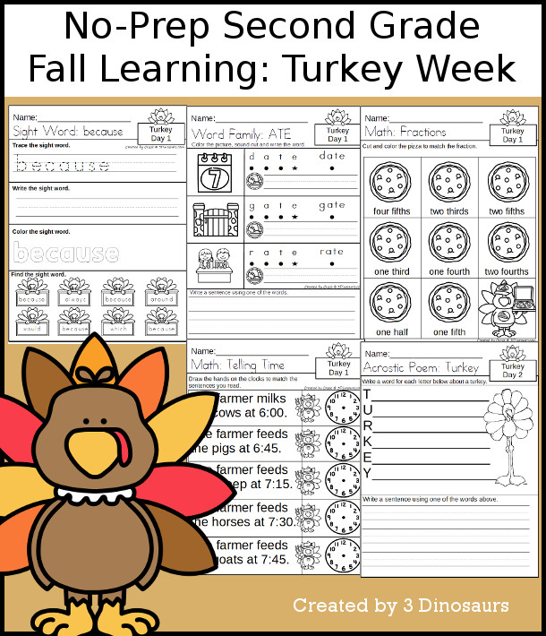 No-Prep Turkey Themed Weekly Pack for Second Grade with 5 days of activities to do to learn with a Turkey theme for Thanksgiving - 3Dinosaurs.com