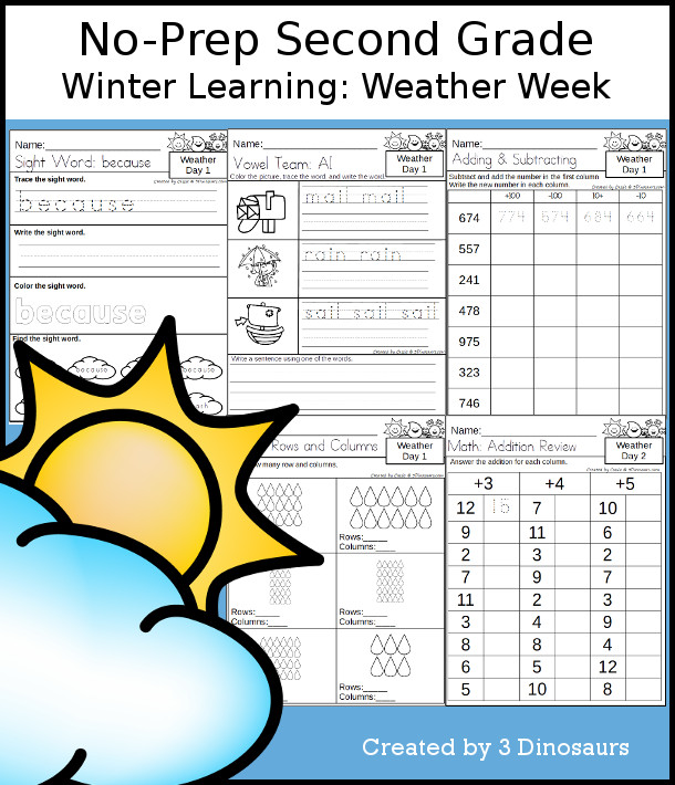 No-Prep Weather Themed Weekly Pack for Second Grade with 5 days of activities to do to learn with a Weather theme - 3Dinosaurs.com