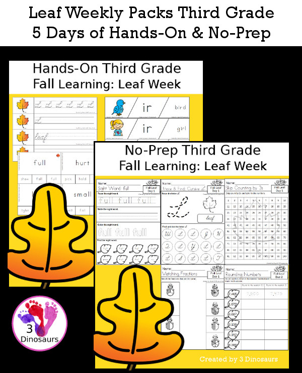 No-Prep & Hands-On Leaf Themed Weekly Packs for Third with 5 days of activities to do to learn with a fall leaf theme - 3Dinosaurs.com