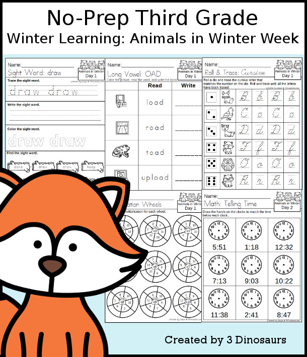 No-Prep Animals In Winter Themed Weekly Packs for Third Grade with 5 days of activities to do to learn with a fall Animals In Winter.  - 3Dinosaurs.com