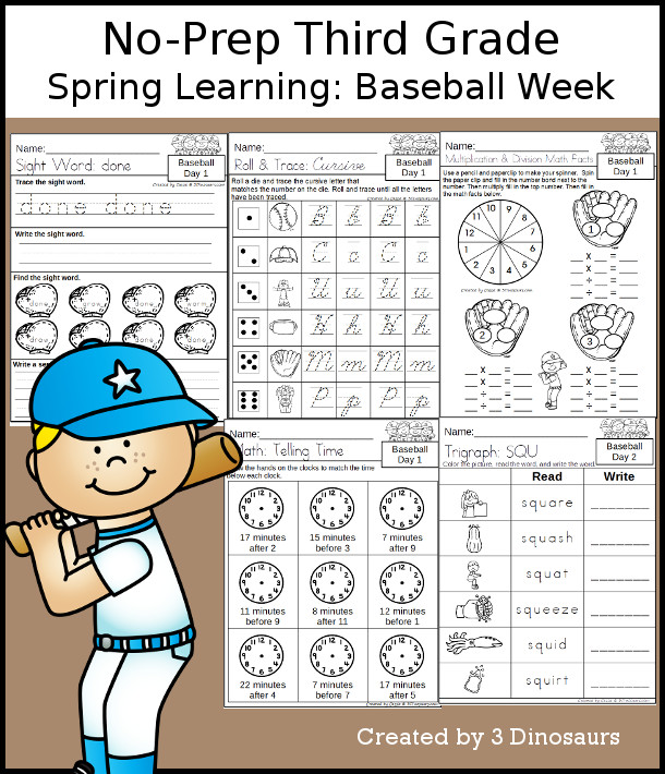 No-Prep Baseball Themed Weekly Packs for Third Grade with 5 days of activities to do to learn with a spring Baseball.  - 3Dinosaurs.com
