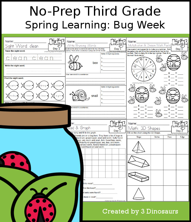 No-Prep Bug Themed Weekly Packs for Third Grade with 5 days of activities to do to learn with a spring Bug.  - 3Dinosaurs.com