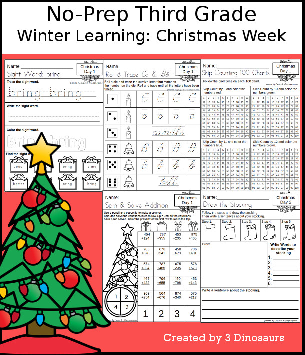No-Prep Christmas Themed Weekly Packs for Third Grade with 5 days of activities to do to learn with a winter Christmas theme.  - 3Dinosaurs.com