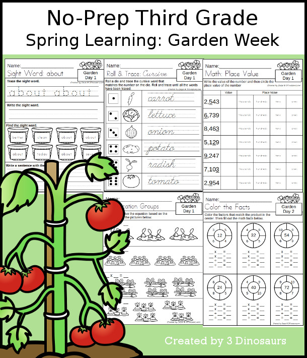 No-Prep Garden Themed Weekly Packs for Third Grade with 5 days of activities to do to learn with a spring Garden.  - 3Dinosaurs.com