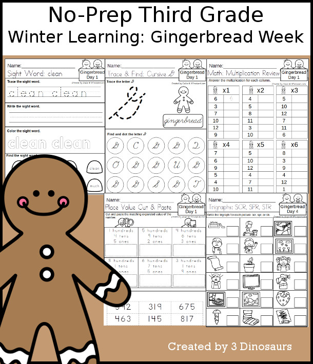 No-Prep Gingerbread Themed Weekly Packs for Third Grade with 5 days of activities to do to learn with a winter gingerbread.  - 3Dinosaurs.com
