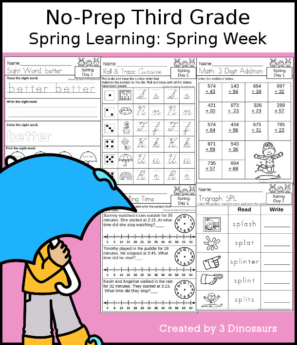 No-Prep Spring Themed Weekly Packs for Third Grade with 5 days of activities to do to learn with a general Spring themes.  - 3Dinosaurs.com