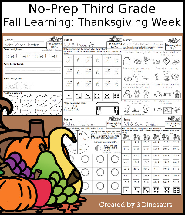 No-Prep Thanksgiving Themed Weekly Packs for Third Grade with 5 days of activities to do to learn with a Thanksgiving Theme.  - 3Dinosaurs.com