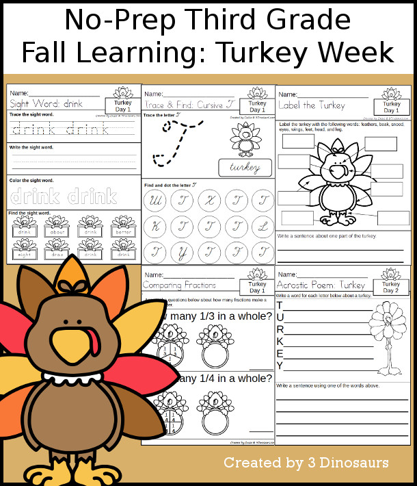 No-Prep Turkey Themed Weekly Packs for Third Grade with 5 days of activities to do to learn with a fall Thanksgiving Turkey Theme.  - 3Dinosaurs.com
