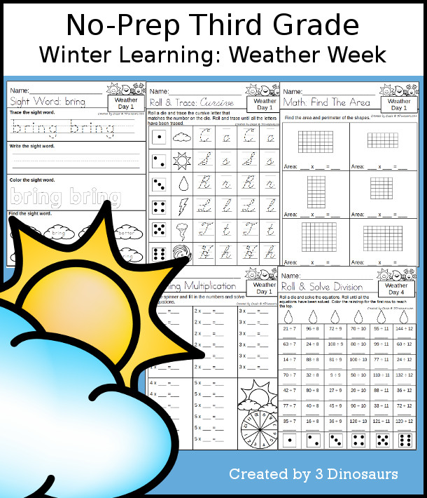 No-Prep Weather Themed Weekly Packs for Third Grade with 5 days of activities to do to learn with a Weather.  - 3Dinosaurs.com