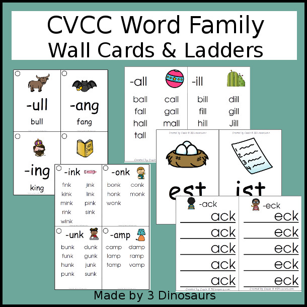 CVCC Word Family Wall Cards & Ladders - 72 pages of printables with two types of cards and two different size options - 3Dinosaurs.com