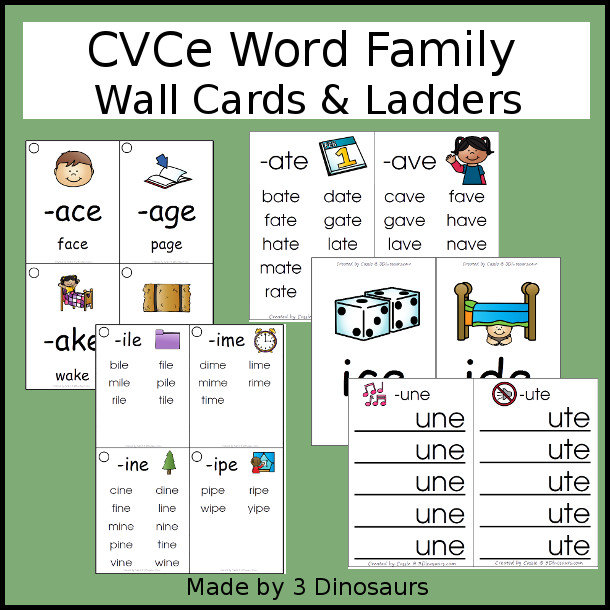 CVCe Word Family Wall Cards & Ladders - 82 pages of printables with two types of cards and two different size options - 3Dinosaurs.com