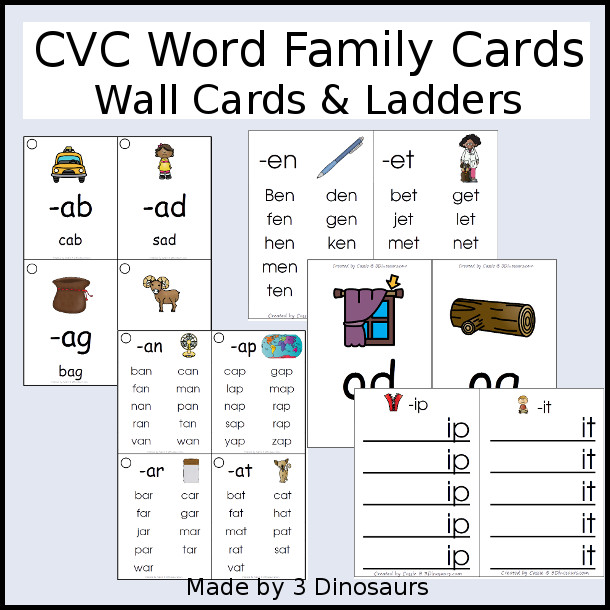 CVC Word Family Wall Cards & Ladders - 75 pages of printables with two types of cards and two different size options - 3Dinosaurs.com