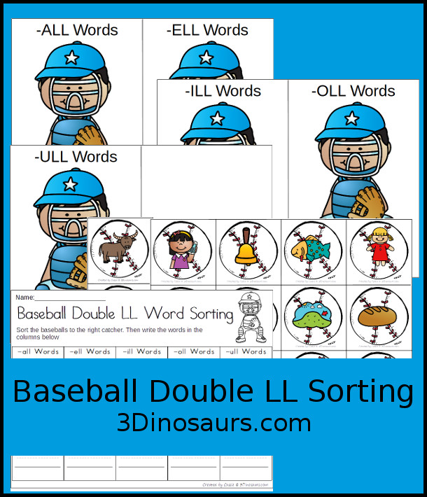 Free Baseball Themed Array Task Cards - 5 sorting mats with 15 cards to sort with a matching recording worksheet - 3Dinosaurs.com