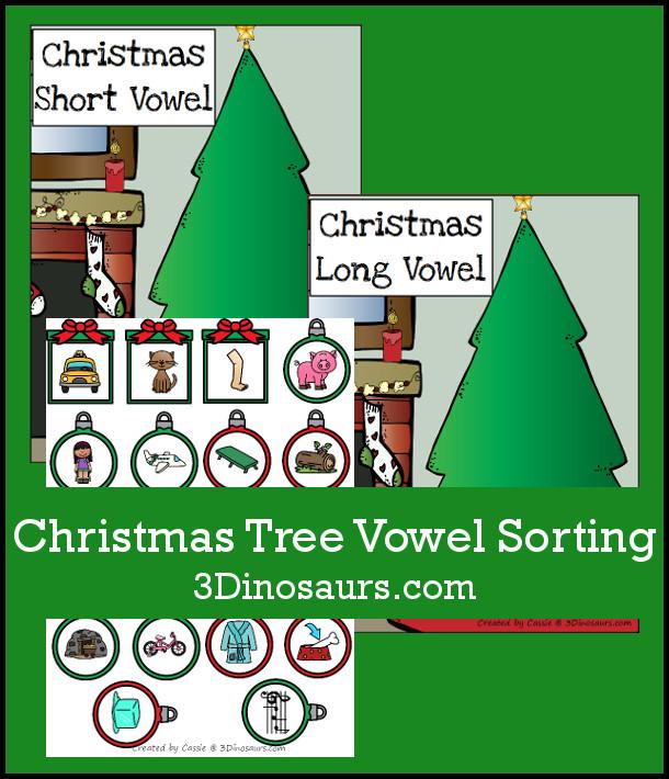 Free Christmas Tree Vowel Sorting - CVC vs CVCe words - 3Dinosaurs.com