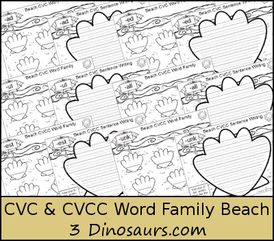 FREE CVC & CVCC Word Family Beach Writing Printable - shells on the beach and a writing page for each word family - 3Dinosaurs.com