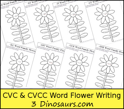 Free CVC & CVCC Word Family Writing Flowers