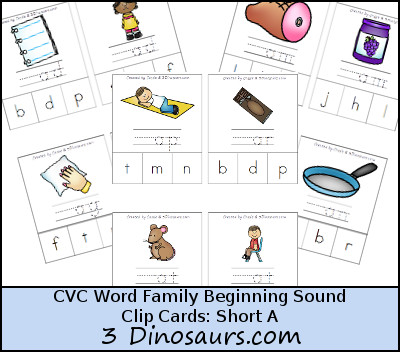 CVC Word Family Beginning Sound Clip Cards: Short A:  ab, -ag, - am, -an, -ap, -ar, -at - 3Dinosaurs.com