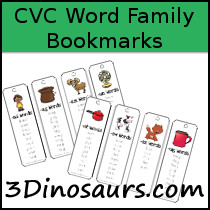 CVC Word Family Bookmark Printables