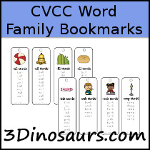CVCC Word Family Wall Bookmarks