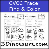 CVCC Word Family Trace Find and Color