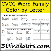 CVCC Word Family Color by Letter