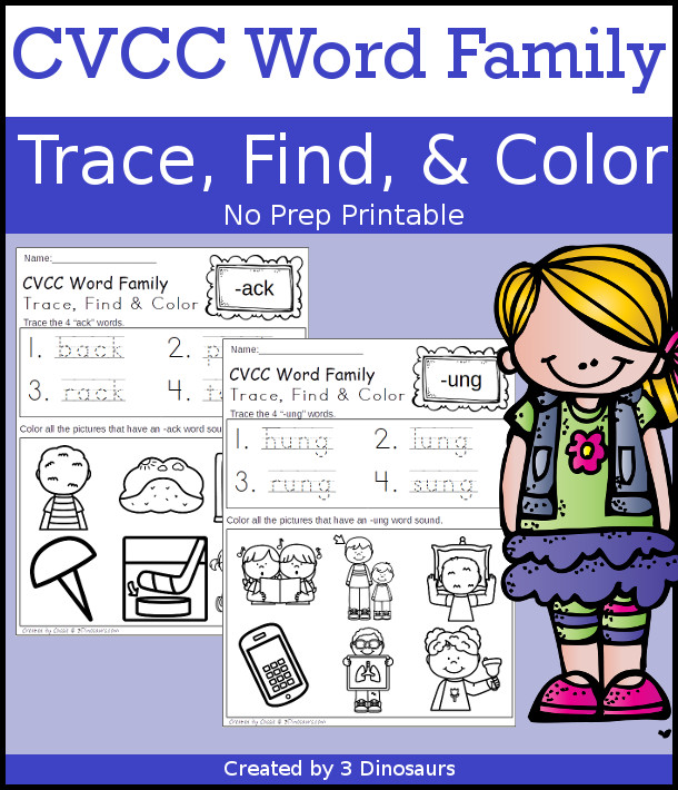 CVCC Word Family Trace, Find & Color with 18 differen word family endings, no-prep printable $ - 3Dinosaurs.com