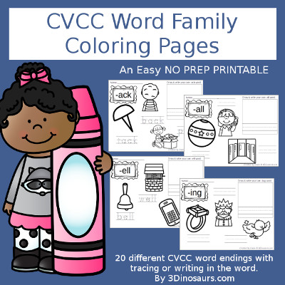 CVCC Word Family Coloring Pages - 3Dinosaurs.com
