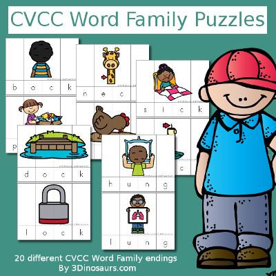 CVCC Word Family Puzzles - 3Dinosaurs.com