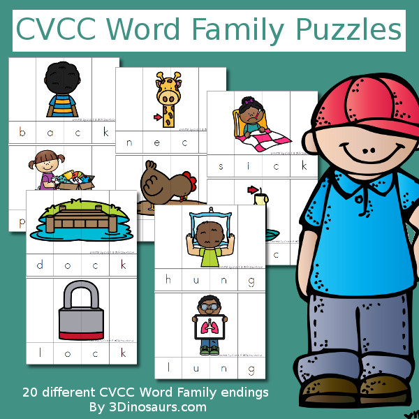 CVCC Word Family Puzzles - 52 pages of puzzles, building mats and more $ - 3Dinosaurs.com