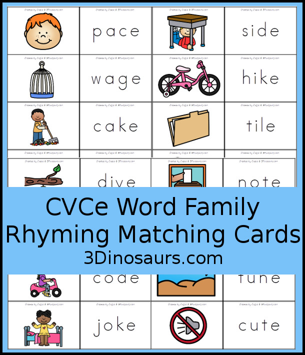 CVCe Word Family Rhyming Matching Cards with 32 sets of cards to match - 3Dinosaurs.com