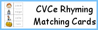 CVCe Word Family Rhyming Matching Cards