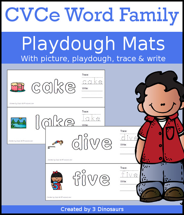 CVCe Word Family Playdough Mats with Pictures - 111 mats with picture, playdough area, tracing, and writing - 3Dinosaurs.com
