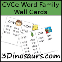 Free CVCe Word Family Wall Cards