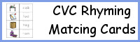 CVC Word Family Rhyming Matching Cards