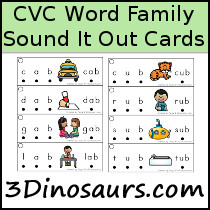 CVC Word Family Sound It Out - 3Dinosaurs.com
